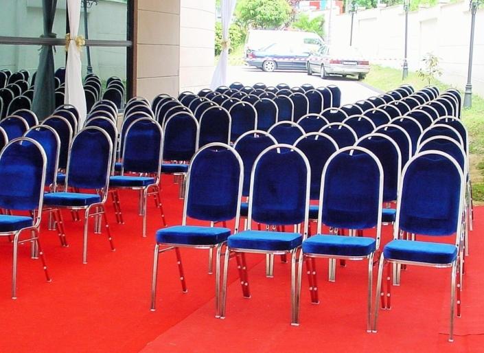 Blue cushion chairs