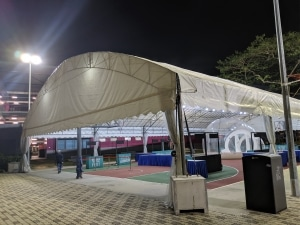 Dome tentage with rain curtains