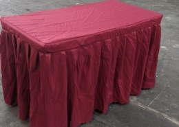 2ft x 4ft rectangle table with red table cloth