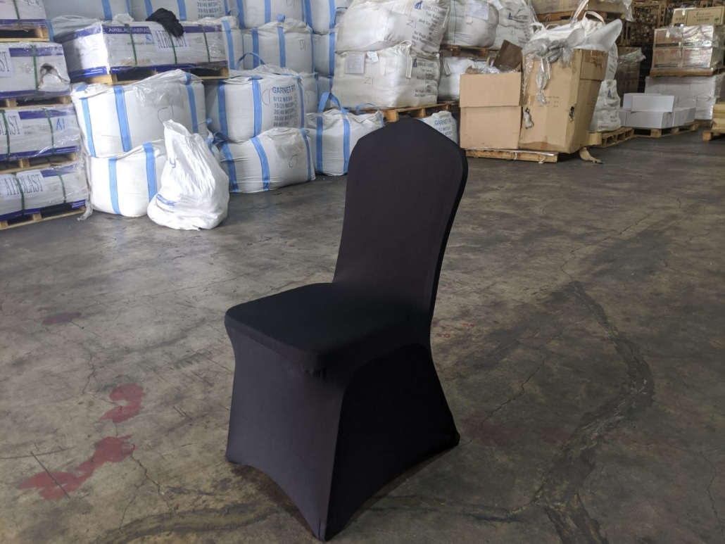 banquet chair with black chair cover