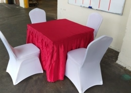 square table with cushion chairs