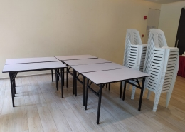 rectangle tables and PVC chairs