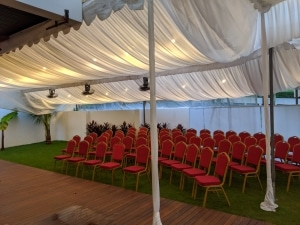single sloping tent with inner lining