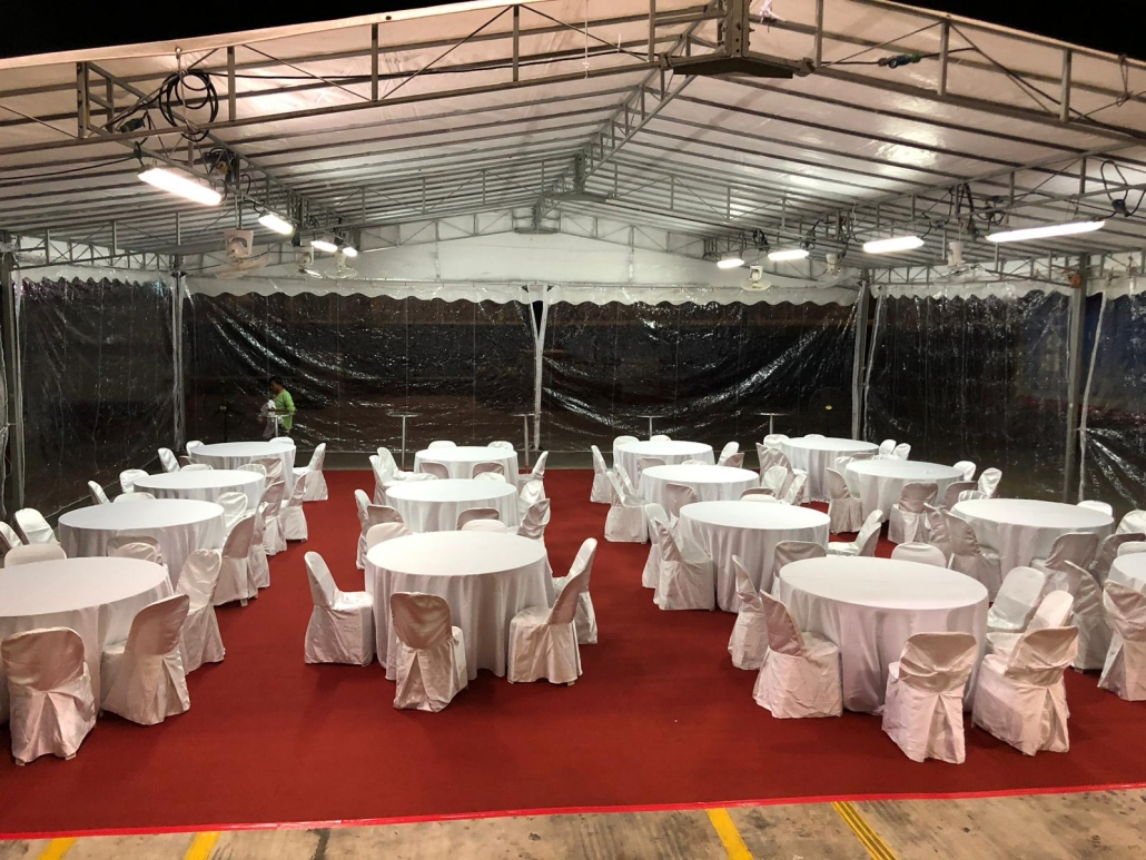PVC chairs and tables for appreciation dinner