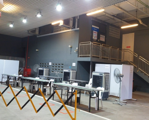 Air coolers at COVID19 test swab facility