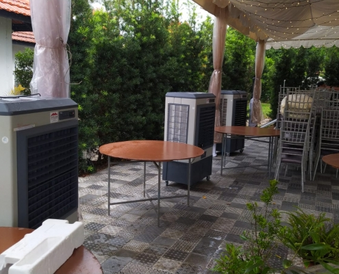 outdoor wedding using aircoolers